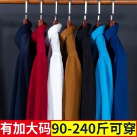 新款大码男装纯色灯芯绒衬衫长袖韩版修身有口袋中老年