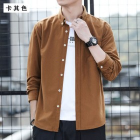 新款男士灯芯绒衬衫纯色寸衫中青年