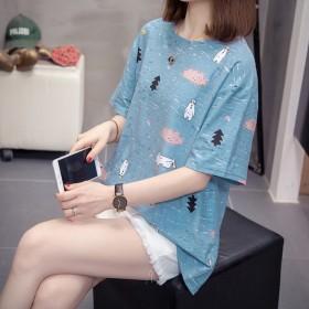 2021女装甜美夏季条纹针织短袖