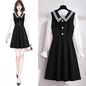 仙女超仙甜美收腰显瘦雪纺拼接连衣裙假两件桔梗复古裙
