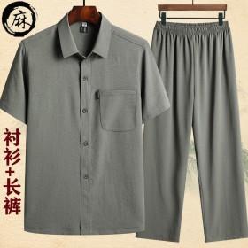 夏季中老年棉麻短袖衬衫男爸爸夏装套装男士...