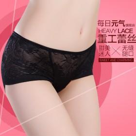 4条装性感女士内裤 蕾丝面料透明低腰三角裤