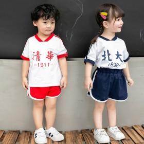 潮童装男童夏装套装2021年新款洋气运动女童短袖校