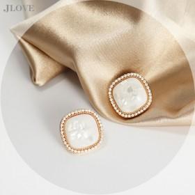 韩国S925银针耳环气质个性珍珠耳钉圆环复古耳坠
