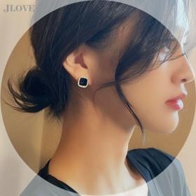 s925银针黑色闪钻方块耳饰耳钉女韩国小众个性几何