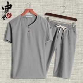 棉麻两件男士短袖长裤一套衣服男中老年男装爸爸装夏装
