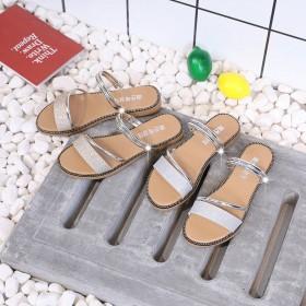 女凉鞋拖鞋ins潮夏两穿外穿防滑低跟一字式扣带网红