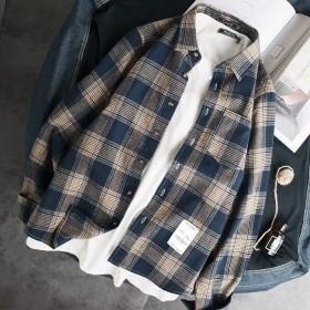 春秋夏季宽松格子衬衫男士外套韩版休闲学生男港风长袖