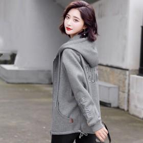 二八月外套女新款春秋装韩版宽松港风休闲连帽上衣