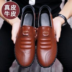 真皮牛皮夏季一脚蹬皮凉鞋男洞洞透气镂空休闲男鞋软皮