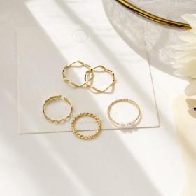 素圈5件套戒指女ins潮冷淡风小众设计气质时尚指环
