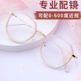 韩版多边形近视眼镜女有度数防蓝光防辐射眼镜框女显瘦