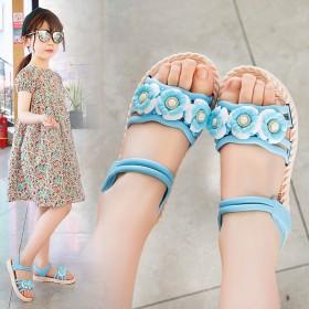 女童凉鞋2021年夏季新款时尚花朵凉鞋露