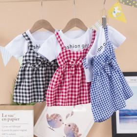 女童连衣裙夏季新款小童格子时尚公主裙韩版吊带洋气六