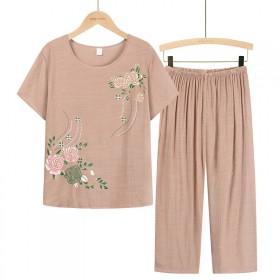 新款女式短袖七分裤裤妈妈装夏季新款套装中...