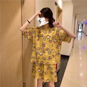 睡衣女夏季新款ins韩版可爱卡通短袖少女学生休闲家