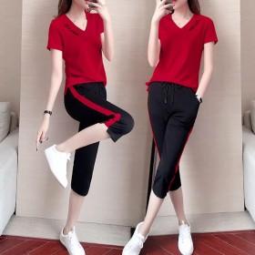 两件套含棉休闲运动服套装夏季2020新款韩版时尚短
