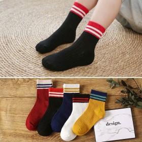 【10双装】儿童袜子春秋条纹中筒袜子