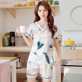 睡衣女冰丝韩版V领薄款印花仿真丝绸套装可外穿家居服