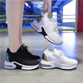 气垫飞织女鞋2021春季新款韩版内增高学生运动鞋女