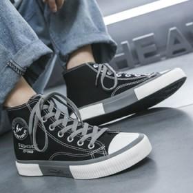 帆布鞋高帮新款休闲男生板鞋子透气潮流百搭学生系带