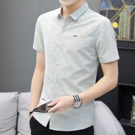 夏季男士修身百搭免烫抗皱衬衫潮流职业短袖衬衣