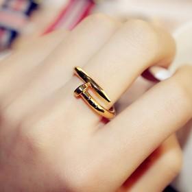 螺丝戒指女钉子气质饰品同款s999沙金