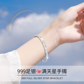 小众设计感s999足银手镯纯银女礼物