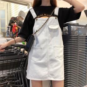 复古减龄少女感牛仔背带短连衣裙1条
