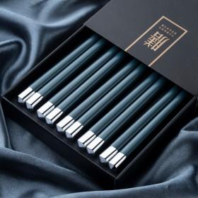 合金筷子防滑防霉耐高温家用合金筷子日式轻奢风网红高