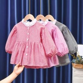 童装2021春季上新韩版格子连衣裙
