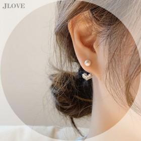 S925银针韩国东大门简约水钻小爱心小珍珠少女耳钉
