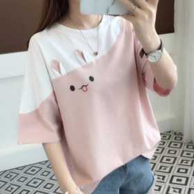 2021夏季新款刺绣兔子韩版拼色t恤学生上衣宽松短