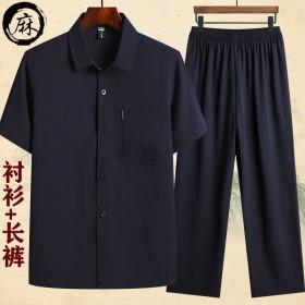 夏季中老年棉麻短袖衬衫男爸爸夏装套装男士衬衣爷爷夏