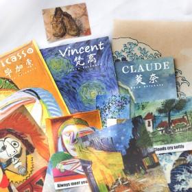 插画卡片墙画海报纸贴和纸包国外美术馆名画系列手帐装