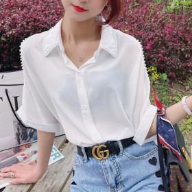设计感钉珠露肩短袖雪纺衬衫女夏季宽松显瘦珍珠翻