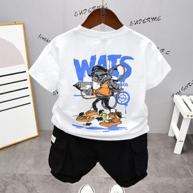 男童短袖t恤2021年夏季儿童夏装套装潮帅气时髦小