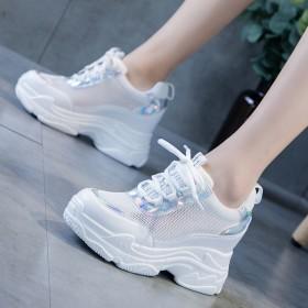 小白鞋子女透气网面内增高厚底运动鞋休闲鞋坡跟单鞋