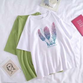 2021新款圆领夏季女装T恤个性印花短袖宽松T恤女