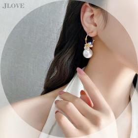 2021年新款潮韩国超仙花朵锆石S925银针耳环