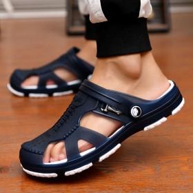 凉鞋防滑拖鞋男浴室内外凉拖两用洞洞鞋沙滩鞋包头