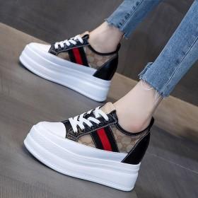 内增高小白鞋女春季网红厚底松糕运动鞋韩版网鞋