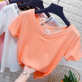 字母印花V领短袖T恤衫女夏季交叉绑带