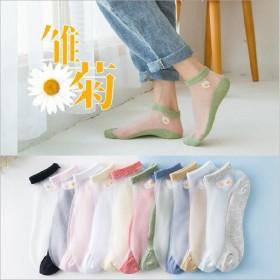 【5双装】袜子女短袜浅口潮隐形袜玻璃丝小雏菊水晶袜