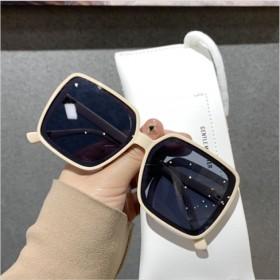 韩版四方框方形白色眼镜圆脸度假街拍墨镜女时尚遮脸显