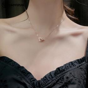 韩版网红D字钛钢项链女超长保色