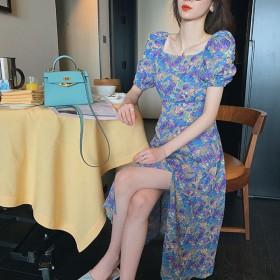 法式复古紫色碎花连衣裙2021新春款夏泡泡袖方领长