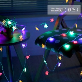 儿童帐篷挂饰星星彩灯电池USB棉球彩旗月亮房间装饰