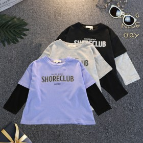 儿童假两件长袖T恤