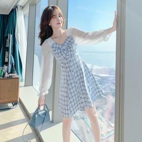 装2021早春新款女装春款小个子方领连衣裙修身甜美